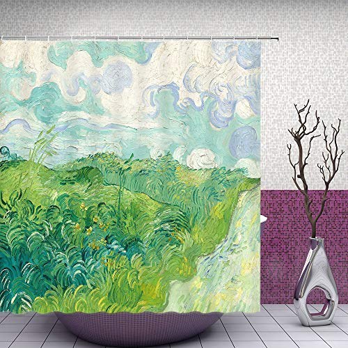 Feierman Van Gogh Shower Curtain Abstract Green Country Bathroom Curtain Fabric Waterproof Polyester with