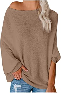URIBAKE Womens Off Shoulder Sweater Fashion Casual Knitted Loose Long Sleeve Solid Color Pullover