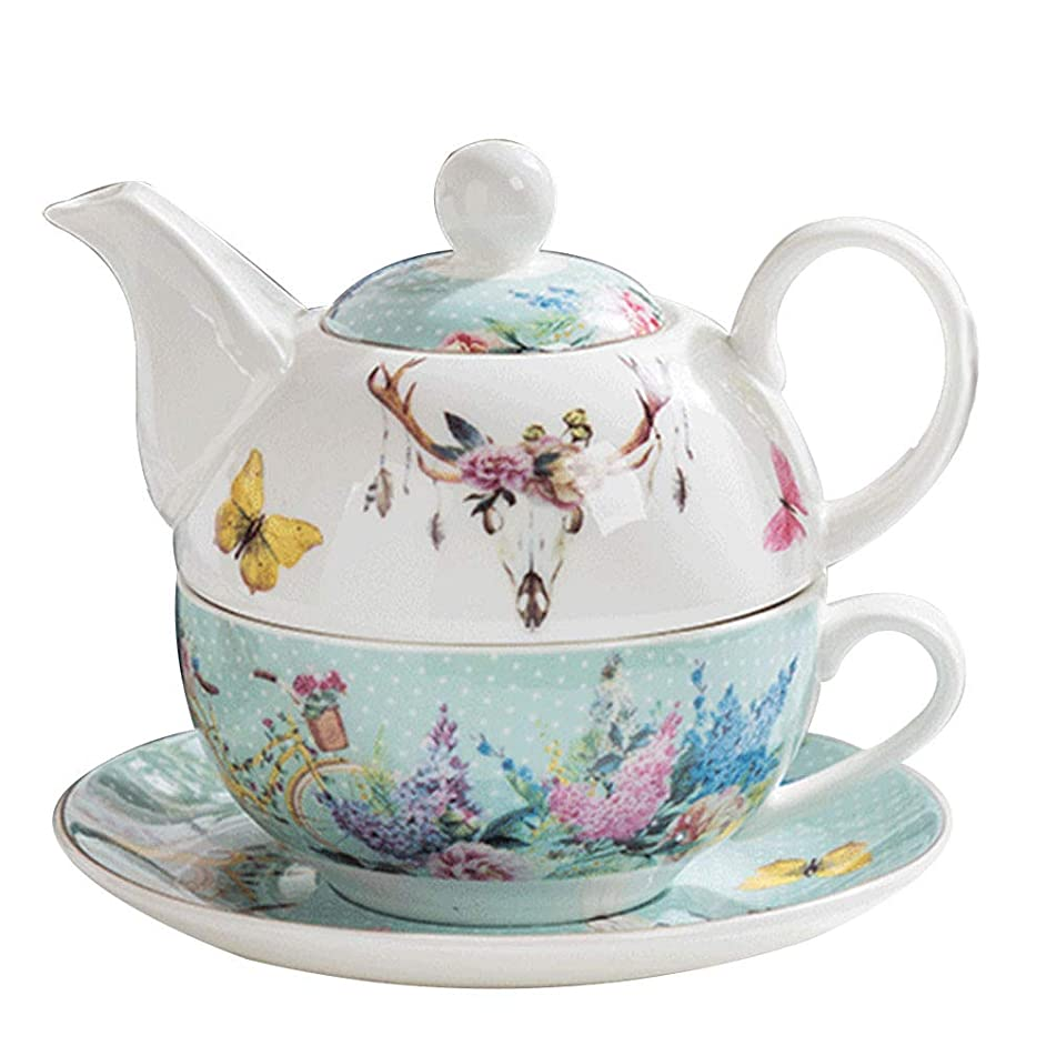 Bone China Tea For One Teapot and Server Set for One, Teapot Cup and Saucer Set Teapot Tea For One B.Hamster Teapot and Cup (Teaforone=Blue garden)
