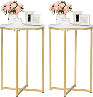 Giantex End Table X-Shaped Small Round Side Table W/Faux White Marble Top, Sturdy Golden Metal Frame, Chic Appearance for Living Room Bedroom Study Room Nightstand (2)