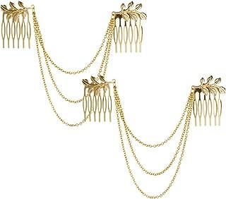 yueton 2pcs Fashion Ladies Athena Olive Branch Tassel Leaf Clips Barrettes Bobby Pin Hair Clips Bride Headwear Edge Clip Clamps Cuff Boho Headbands