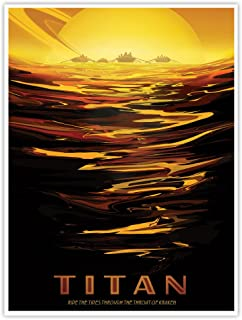 NASA JPL Visions of The Future Space Tourism Travel Poster Titan Handmade Gallery Print (18x24)
