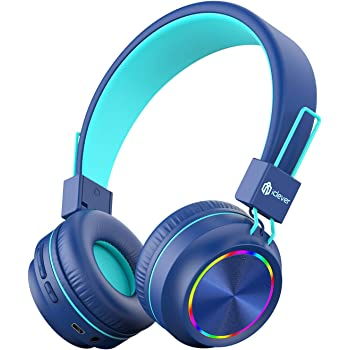 iClever BTH03 Kids Wireless Headphones, Colorful LED Lights Kids Headphones with MIC, 25H Playtime, Stereo Sound, Bluetooth 5.0, Foldable, Childrens Headphones on Ear for Study Tablet Airplane, Blue