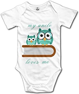 KingFong Owl My Uncle Loves Me Short Sleeve Infant Baby Boy Clothes Onesies Bodysuit Romper Jumpsuit Unisex