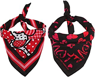 Trsen Pet 2 Pack Valentine's Day Heart-Shape Dog Bandanas Bibs Pet Plaid Scarf Square Head Scarfs Accessories Neckerchief ...