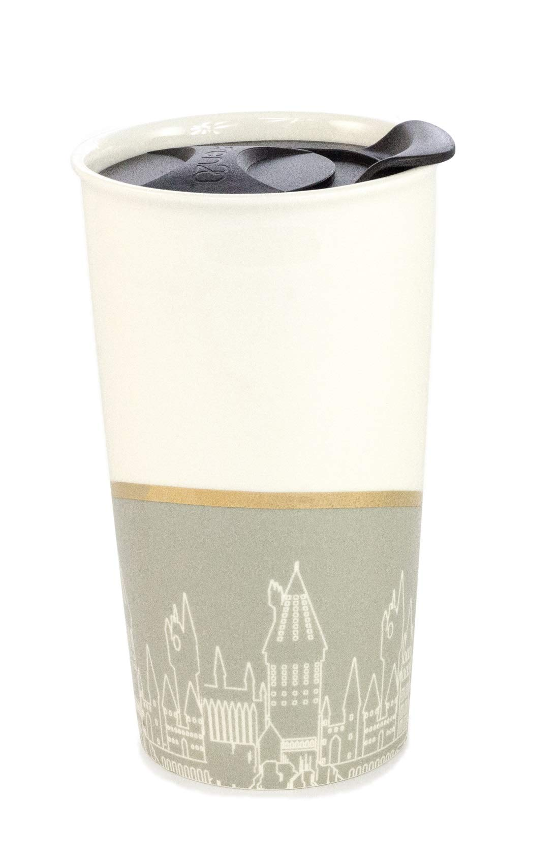 Harry Potter Travel Mug – Harry Potter Tumbler for Hot Tea and Coffee – Ceramic Coffee Mug with Hogwarts Silhouette, Gold Plated Finish – Perfect Harry Potter Gifts for Women, Men and Muggles