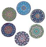 BABEL ARTESANIA Posavasos (Set de 6) - Regalos Originales Decorativos para café, Cocina, uno Drink, Taza, Vino, Tazas, Vasos, Cristal- Juego de mesas, Base Corcho para Mesa de Madera (Alhambra)