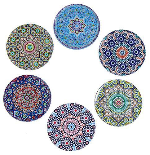 BABEL ARTESANIA Sottobicchieri (Set di 6) - Regali decorativi originali per caffè, cucina, una...