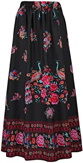 Skirts for Women Boho Long Maxi Skirt Beach Floral Holiday Summer High Waist