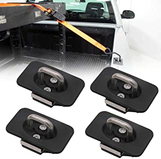 Riwful 4pcs Raised Truck Bed Retractable Tie Down Anchors for 98-14 Ford F150 98-16 Ford Super Duty 99-13 Chevrolet Silver...