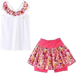LittleSpring - Conjunto de Ropa de Verano para niñas pequeñas, Playera de Tirantes y Pantalones Cortos Falsos