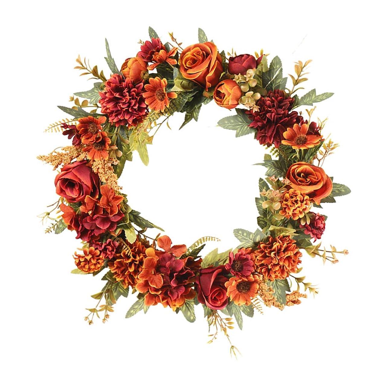 アパルジャベスウィルソン制限するAmosfun ローズ秋リースローズクラウン人工秋秋季節の花輪結婚式の正面玄関の家の装飾