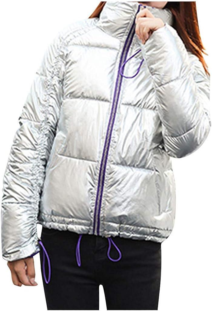 ZANFUN Women's Winter Warm San Antonio Mall Short Coat Cotton Puffer Jacket Shiny Max 52% OFF
