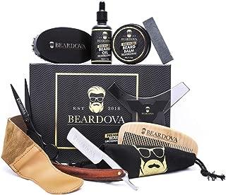 Beard Grooming Kit for Men 10 in 1 – Best Beard Kit Includes Brush, Oil, Comb, Balm, Straight Razor, Sharpening Strop, Shaping Tool, Beard & Mustache Scissors & Cotton Bag for Beard Care