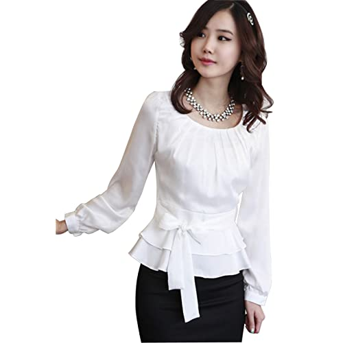 bd86ee0baf90a Double Plus Open DPO Women s Satin Long Sleeve Tops Pleated Slim Round Neck  Blouse