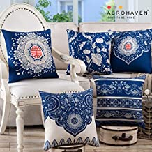 AEROHAVEN Cotton Turkish Decorative Throw Pillow/Cushion Covers (Blue, 16 x 16 inch) Set of 5
