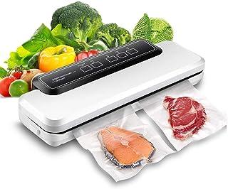 Wuudi Sellador de vacío doméstico, máquina de sellado automático para almacenamiento de alimentos y protección de la frescura con modos seco y húmedo, indicador LED