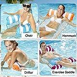 Hamaca inflable Pool Float, 4 en-1 Hamaca de grupo multiusos (silla de silla, silla de salón, hamaca, drifter) Silla de piscina, Hamaca de agua portátil Silla de hamaca Toyas al aire libre, rosa Dirge