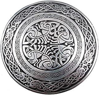 Solid Pewter Circular Celtic Bird Scottish Kilt Belt Waistplate Buckle