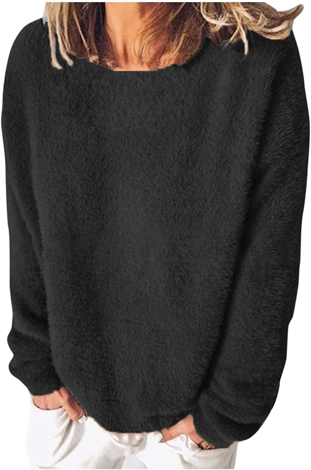 Hemlock Women Solid Color Sweater Tops O Neck Pullover Jumper Long Sleeve Fall Tops Outwear