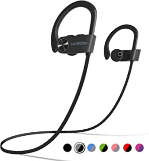 LETSCOM Bluetooth Headphones IPX7 Waterproof, Wireless Sport Earphones, Hifi Bass Stereo Sweatproof Earbuds W/Mic, Noise Cancelling Headset for Workout, Running, Gym, 8 Hours Play time, BlackGray