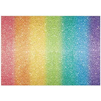 Allenjoy 7x5ft Rainbow Backdrop Colourful Glitter  No Sparkle  for Sweet Girls Women Birthday Themed Prom Party Decorations Background Cake Table Banner Portrait Photoshoot Video Photo Booth Props
