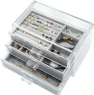 WXYLYF Jewelry Box 3 cassetti, Velvet Gioielli Organizzatore, Orecchini Anelli collane bracciali di Caso Regalo per Le Don...