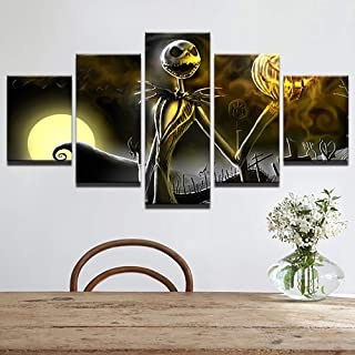 Happy Halloween Canvas Prints Wall Art Pictures 5 Pieces Hallowmas Jack Skellington Painting Living Room Decor Nightmare Before Christmas,B,30x402+30x602+30x801