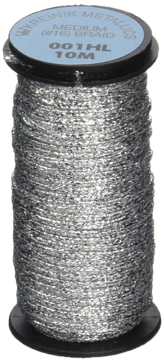 Kreinik No.16 10m Metallic Braid, Medium, Hi Lustre Silver