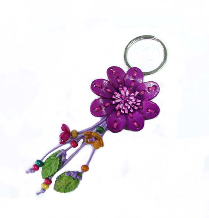 Padee Genuine Leather Small Flower Keychain Keyring Keyfob for Handbag Wallet Purse Car Charm Handmade Handcraft Keychain#HASKEY056-058 (Purple)