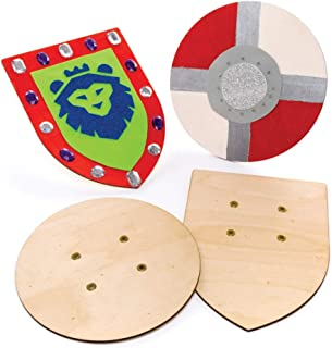 Baker Ross Ltd Wooden Shields (Pack of 2) Shield with Elastic Handle Perfect Accessory for Kids to Decorate and Wear with Knight Costume