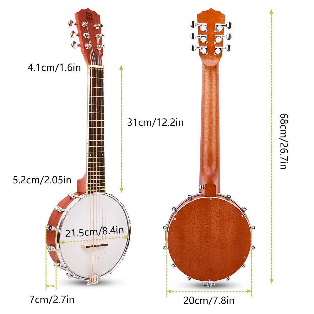 Vangoa 6 cuerdas Banjo Mini, 26 pulgadas, guitarra banjo de caoba ...