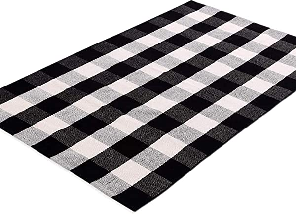 Ukeler 黑白地毯 3 5 棉质农舍分层门垫手工编织方格地毯格子地毯门口厨房浴室入口通道洗衣房卧室