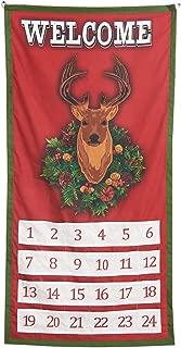 SAND MINE Reindeer Hanging Advent Calendar, Christmas Fabric Wall Hanging, Seasonal Cloth Countdown, Seasonal Fabric Wall Hanging, Traditional Holiday Christmas Decor