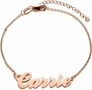 LONAGO Name Bracelet Personalized Sterling Silver Gold Rose Gold Custom Made Any Name Charm Initial Link Women Girl Jewelry Gift