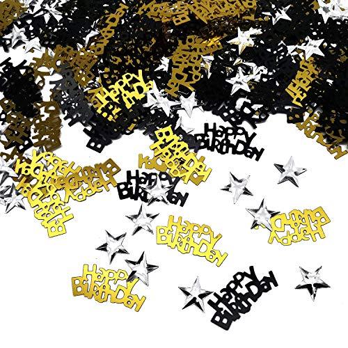 iZoeL Confettis Noir Or Happy Birthday 240pcs + Argent étoile 350pcs Décoration de Table.