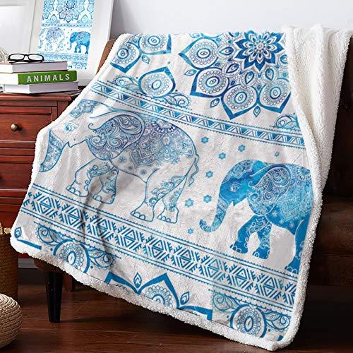 XiaoHeJD Blaue Decke 3D Indian Elephant Flanell Decke Sofa TV Travel Throws Decke Home Bedding