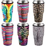 6 Pieces Reusable Coffee Cup Sleeve NeopreneInsulated Sleeves Cup Cover Holders Drinks Sleeve Holder NeopreneTumbler Insulator Sleeves for 30-32 oz Cold Hot Beverages, 6 Styles