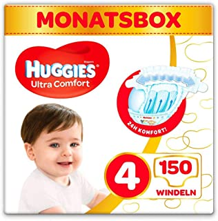 HUGGIES Huggies Windeln Ultra Comfort Baby Größe 4 Monatsbox, 150 Stück 3 x 50 Babywindeln, Monatspack, Großpackung