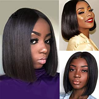 Olga Short Bob Wig Straight Closure Lace Front Human Hair Wigs For Black Women 150 Denisty Brazilian Hair Lace Front Wig 12inch Natural Black Brazilian Human Hair Wigs with Baby Hair