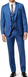 Hugo Boss Blue Mens Size 46 Notch-Collar Two Button Wool Suit