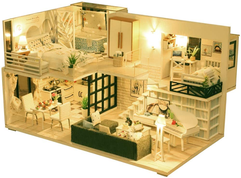 DIY Miniature Dollhouse Kit Dollhouse Furniture Kit with LED Light M21 3D Wooden Dollhouse with Dust Cover and Music Movement
