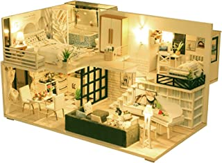 DIY Miniature Dollhouse Kit, 3D Wooden Dollhouse with Dust Cover and Music Movement, Dollhouse Furniture Kit with LED Light M21