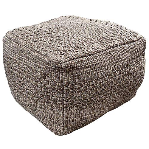 HIGOGOGO Pouf Cover, Unstuffed Ottoman Handmade Woven Foot Stool Soft Knitted Cotton Linen Footrest Square Floor Cushion Unfilled Pouf for Living Room...