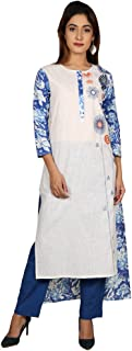 Missprint Blue & White Hand Block Printed Indo Western Kurta with Pants