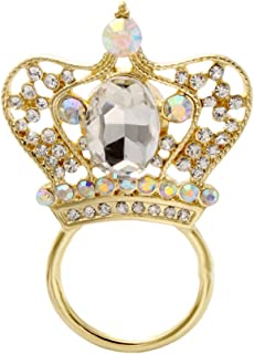 NOUMANDA Cool Rose Gold Plated Queen Skull Brooch Skull Magnetic Eyeglasses Holder with Crystal Crown