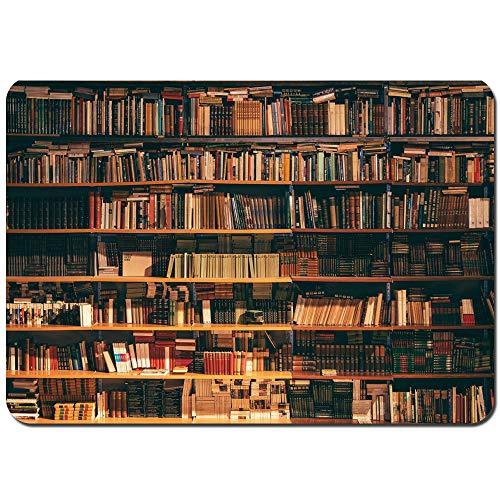 MZTYPLK Antideslizante Alfombra De Baño,Biblioteca Estantería con Libros Estantería Bookworm,Alfombra de Cocina Alfombra Mascota,Alfombras de Ducha 75x45cm