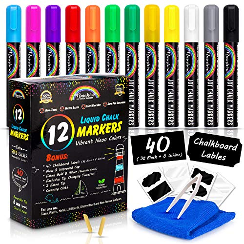 Rainbow Joy Liquid Chalk Markers -12 Pack Erasable Neon Colors Bistro Pens With Gold Silver Colors Cleaning Cloth 40 Chalkboard Labels 2 Tip Reversible Bullet Chisel Tip Increased Ink Capacity New Cap