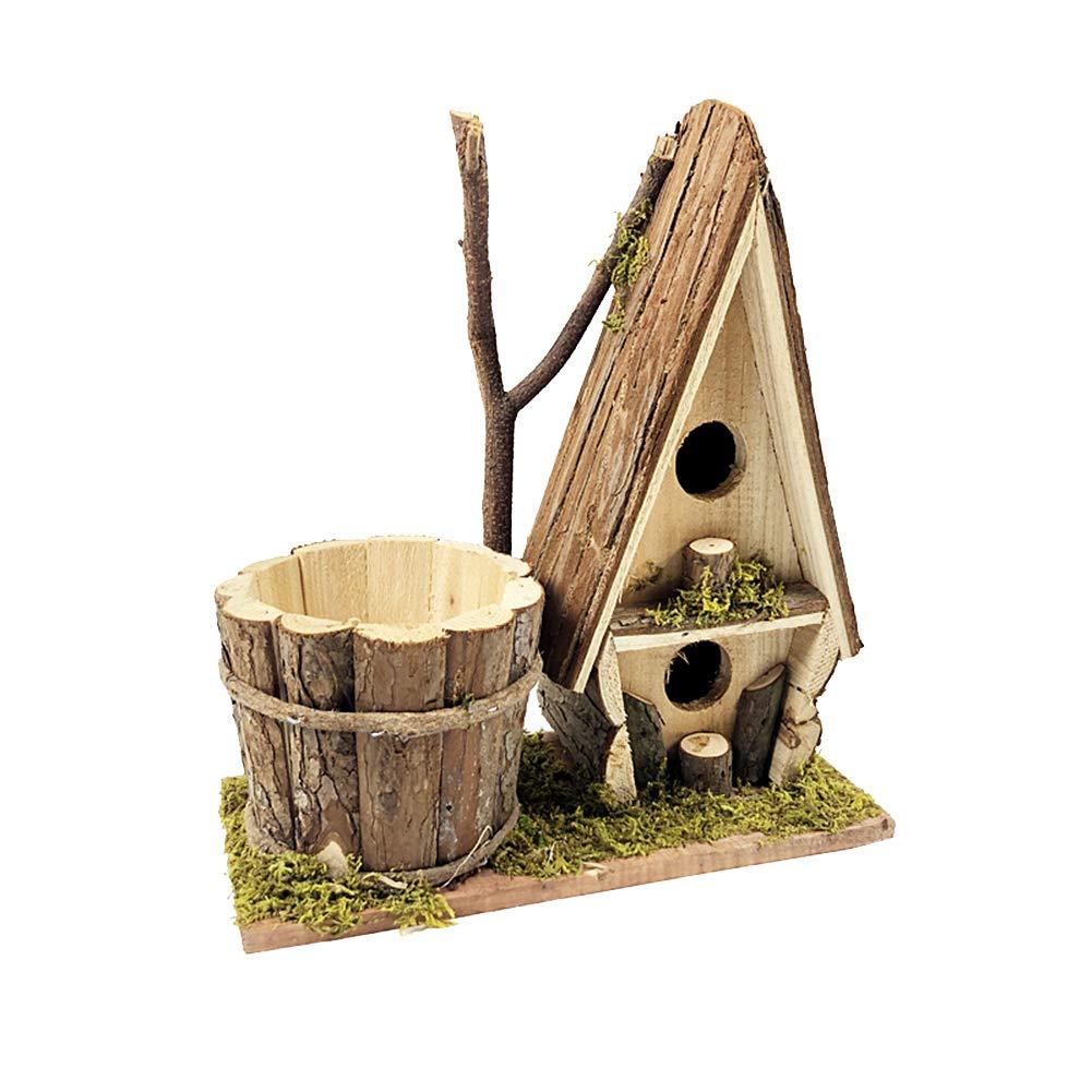 Hazelsha Casa de pájaros de Madera rústica para jardín al Aire Libre con Maceta y Caja de Nido para pájaros: Amazon.es: Jardín