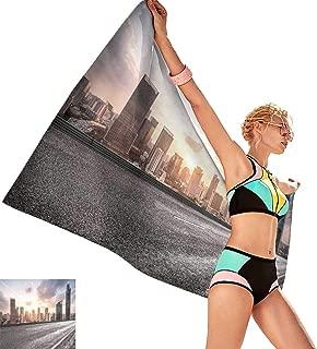 Bath Towel mat City Road with Cityscape and Skyline of Shanghai cbd,W28 xL55 for Bathroom Striped